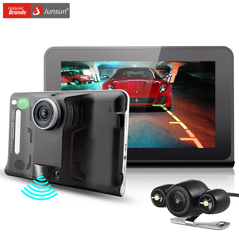Junsun New 7 Car DVR camera radar detector Android GPS Navigation auto G Sensor rear view