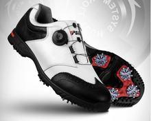 2017 г. лакированные Туфли для гольфа Mens водонепроницаемой кожи Обувь отправить деятельности ногтей автоматический вращающийся шипы Туфли для гольфа, Бесплатная доставка