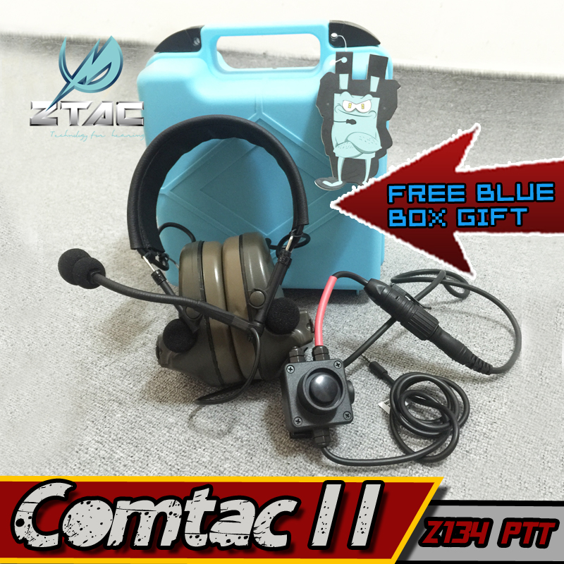 цена Z-Tac Headset Comtac II Airsoft Paintball Hunting Z-TAC Arsoft PTT kenwood air gun Peltor Airsoft Element Z Tac Active Headphone