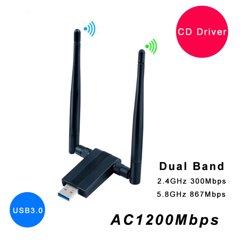 USB Wifi Antenna Adapter AC1200Mbps Wireless WiFi Network Card Free Driver USB3.0 Dual Band Wifi Receiver Transmitter Dongle