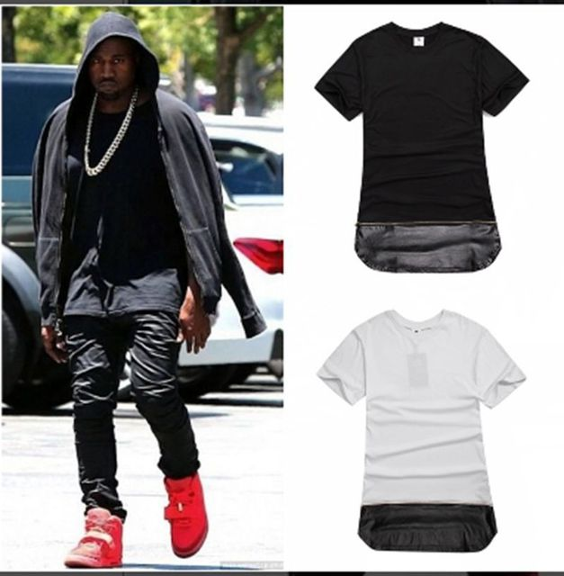 Zip Long Length Pu Leather Kanye West Skateboard New Man Clothing Hip Hop Hiphop T Shirt