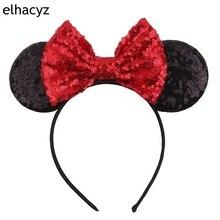 Retail 1PC 2019 New Glitter Minnie Ears Headband 5'' Sequin Bow Hairwear DIY Handmade Headwear For Kids Party Hair Accessories