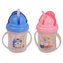 Durable Baby Kids Straw Cup Drinking Printed Rabbit Bottle Sippy Cups With handles Cute Design Feeding Bottle PP Plastic(China)
