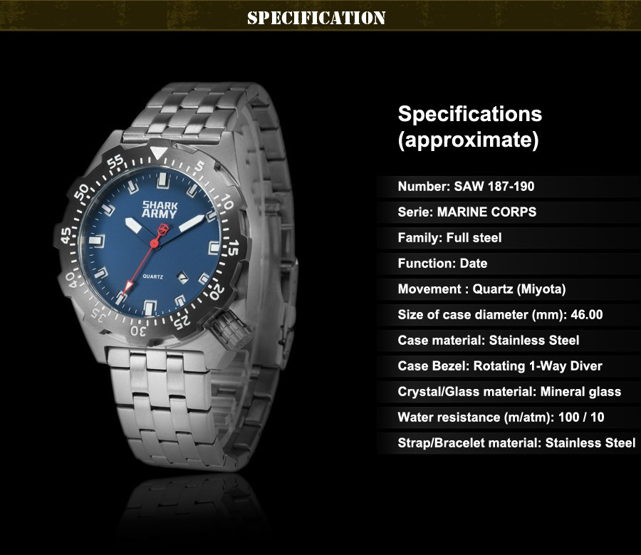 Shark Army Top Brand Man Watch Luminous 10ATM Water Resistant Blue Surfing Military Full Steel Quartz Sport Wristwatches /SAW188 14