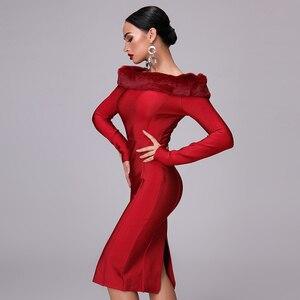 Image 2 - Robe à bandes à manches longues pour femme, nouvelle robe Sexy moulante à manches longues pour femme, avec Vent, fête de noël, nouveauté, automne 2020