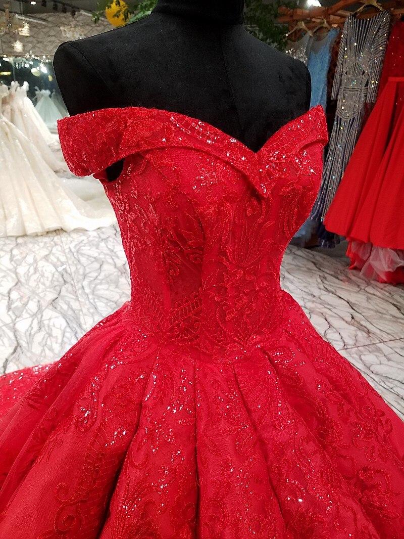 50cm train red wedding dress