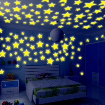 Pictures 100 Pieces Wall Stickers Illuminate Bedroom Decor Bright Stars of Fluorescent Color Tattoos Wall Stickers Home Decors