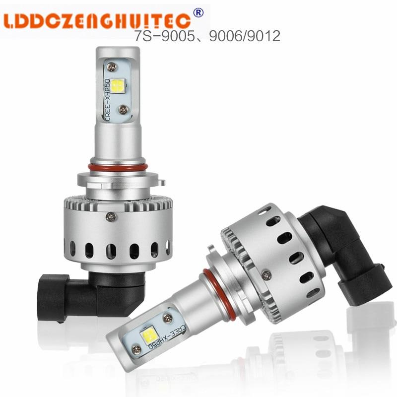 LDDCZENGHUITEC 7 S H4 H7Car phare LED double faisceau 40 W 6000Lm Super lumineux avec XHP 50 puces LED avec adaptateur décodeur Canbus