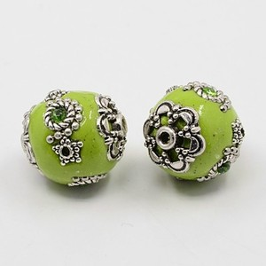 Image 2 - 100pcs 11 21mm Handmade Indonesia Beads with Alloy Cores Round Mixed Style Mixed Color DIY Jewelry Making Handicrafts Supplies