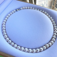 Women Gift word 925 Sterling real Natural Taihu freshwater pearl necklace 8 9, nearly round, almost no time choker bts
