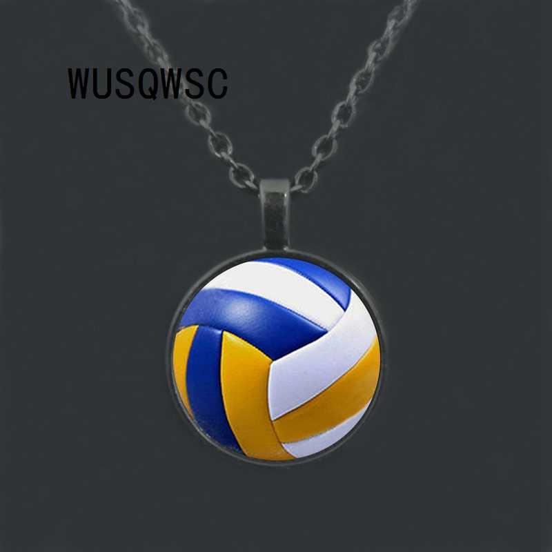 WUSQWSC hombres Vintage voleibol colgante collar antiguo con cuello deportivo pelota voleibol jugador regalo