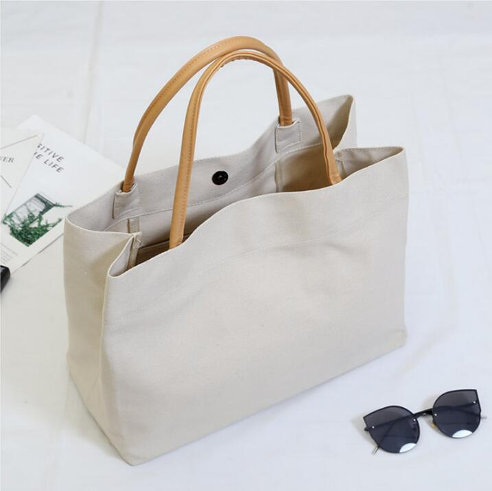 1PCS Reusable Shopping Bag Shopper Handbag Woman Beige Eco Canvas Bag Grocery Bag Tote Cotton Cloth Fabric Bags Torba Na Zakupy