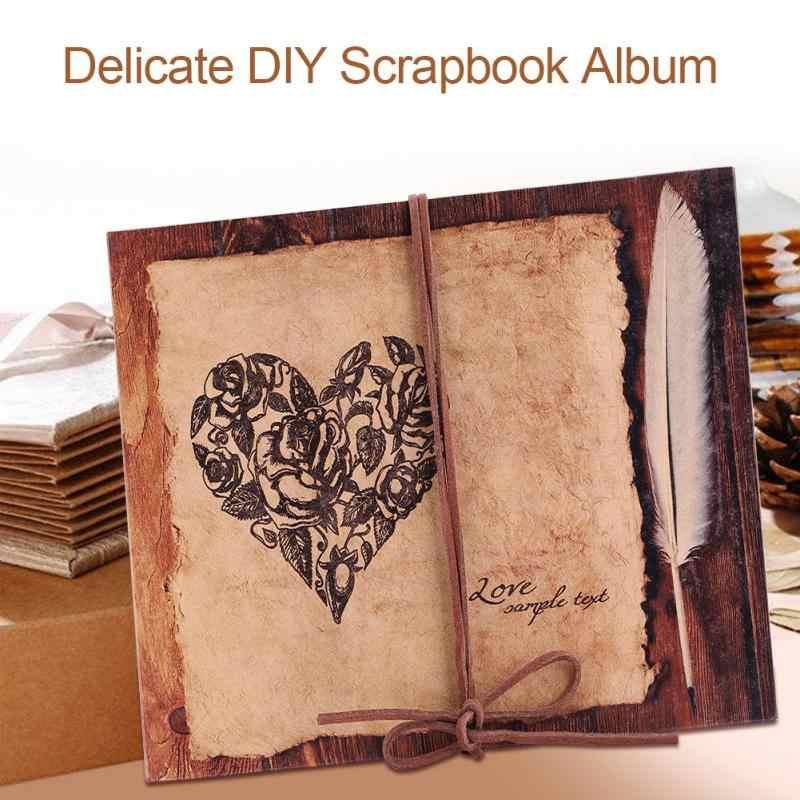 DIY Album Scrapbook Vintage Style Heart Series Handmade Photo Album Decoration Scrapbook Lover Travel Wedding Memory Photo Album