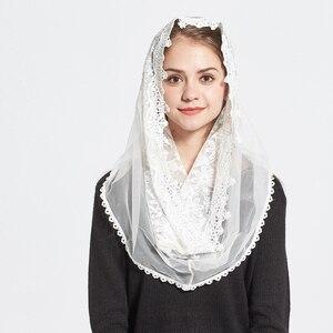 Image 5 - תחרה אינפיניטי צעיף נשים שנהב חתונת הכלה שושבינה רך קפלת רעלה מנטילת מסורתי קתולי חיג אב מוסלמי צעיף
