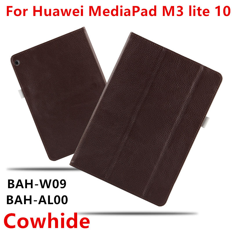 Case Cowhide For Huawei MediaPad M3 lite 10 Covers Protective Genuine Leather PU M3 Youth BAH-W09 AL00 Tablet PC Cases Protector for 2017 huawei mediapad m3 youth lite 8 cpn w09 cpn al00 8 tablet pu leather cover case free stylus free film