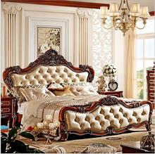 modern european solid wood bed Fashion Carved  1.8 m bed  french bedroom furniture 6910 furniture bedroom double box solid wood simple bed