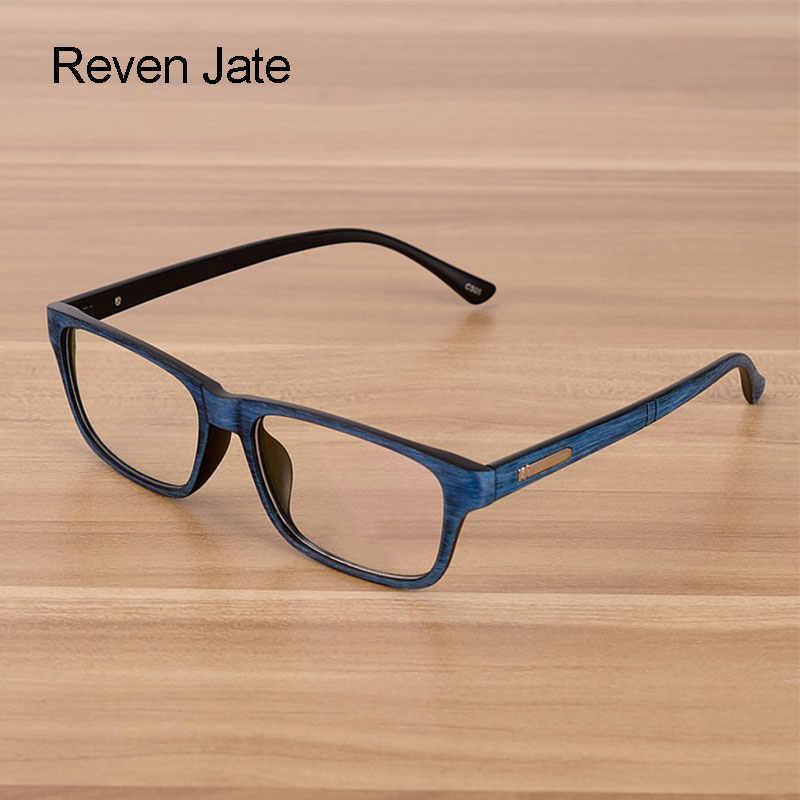 Reven jate eyewear masculino e feminino unissex padrão de madeira moda retro óculos de óculos ópticos quadro óculos vintage