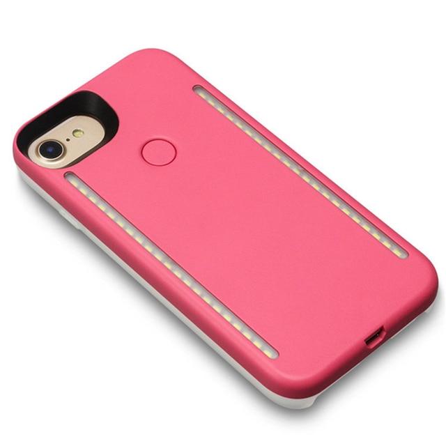 LED Lumière Selfie Téléphone Cas Lumière Flash Lumineux Téléphone Couverture Arrière Cas Pour iPhone 5S 6 s 6 s Plus 7 Plus 8 Plus X Funda Coque 4