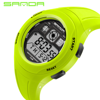 2016 New SANDA Watch Brand 6 Color Change LED Light Date Alarm Round Dial Digital Wrist