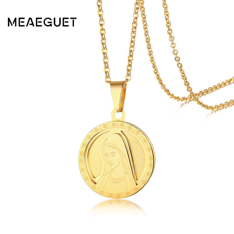 Women Necklace Mini Blessed Virgin Mary Round Coined Pendant Stainless Steel Lady Goddess Guadalupe Virgin Madonna Choker