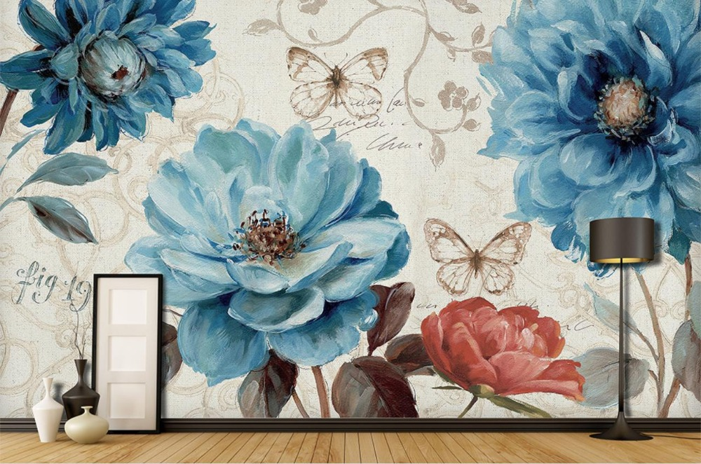 Pastoral hand painted 3d Wall Murals Wallpaper Blue watercolor flowers Living Room 3d Wallpaper Background Wall Decoration blue earth cosmic sky zenith living room ceiling murals 3d wallpaper the living room bedroom study paper 3d wallpaper