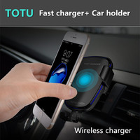 Qi Standard Two Way Car Phone Wireless Charger Dashboard Air Vent Fast Charging For Iphone 8