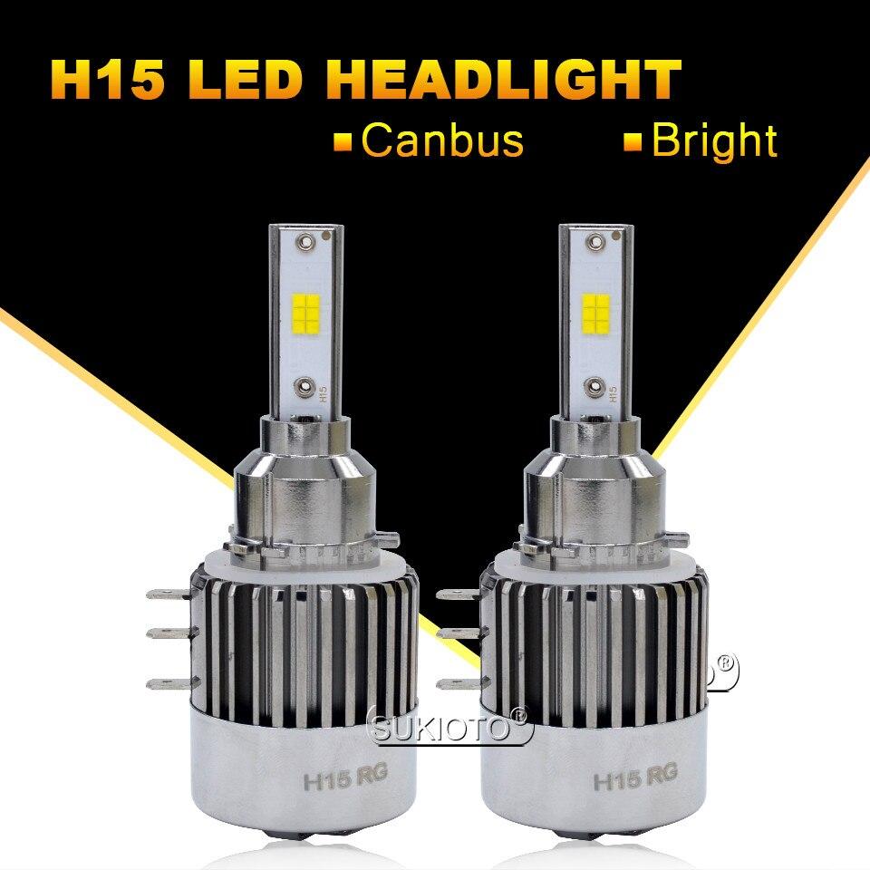 SUKIOTO 2PCS NO Error H15 LED Canbus LED Headlight Lamp LED Car bulbs Daytime running Light DR for GOLF6 GOLF7 AUDI Q7 A6 BENZ
