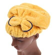 6 colores microfibra sólida rápidamente seque el sombrero del pelo turbante  mujeres niñas señoras gorra de 1d5c32c6b52