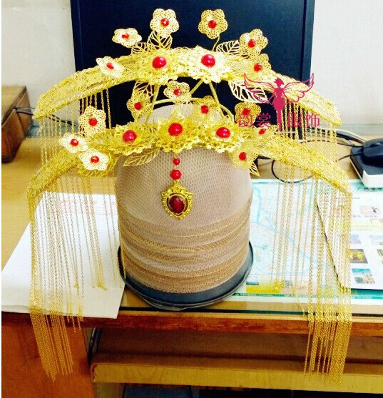 Imitate TV Play Xuanyuan Sword Actress Ningke Bride Wedding Hair Tiaras Hair Accessory 03 red gold bride wedding hair tiaras ancient chinese empress hat bride hair piece