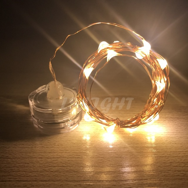 Led Copper Wire Candle Light String 2m Battery Ed Warm White Waterproof Indoor Xmas Holiday Decor Fairy Lamp