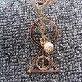Pérola Chaveiro-Chaveiro Harry Potter Luna Relíquias da morte triângulo de Ouro e Prata Banhado A Chave Anel Keychain Para O Saco pendente