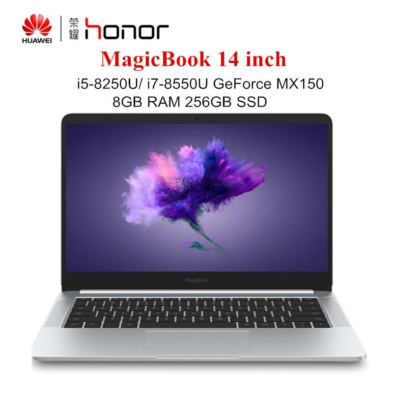 HUAWEI Honor MagicBook 14 Inch Windows 10 Laptops I7-8550U / I5-8250U 8GB RAM 256GB SSD Notebook Quad Core 1.6GHz PC 1920x1080