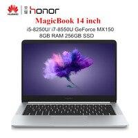 HUAWEI Honor MagicBook 14 дюймов Windows 10 ноутбуки i7 8550U/i5 8250U 8 ГБ ОЗУ 256 ГБ SSD ноутбук четырехъядерный 1,6 ГГц ПК 1920x1080