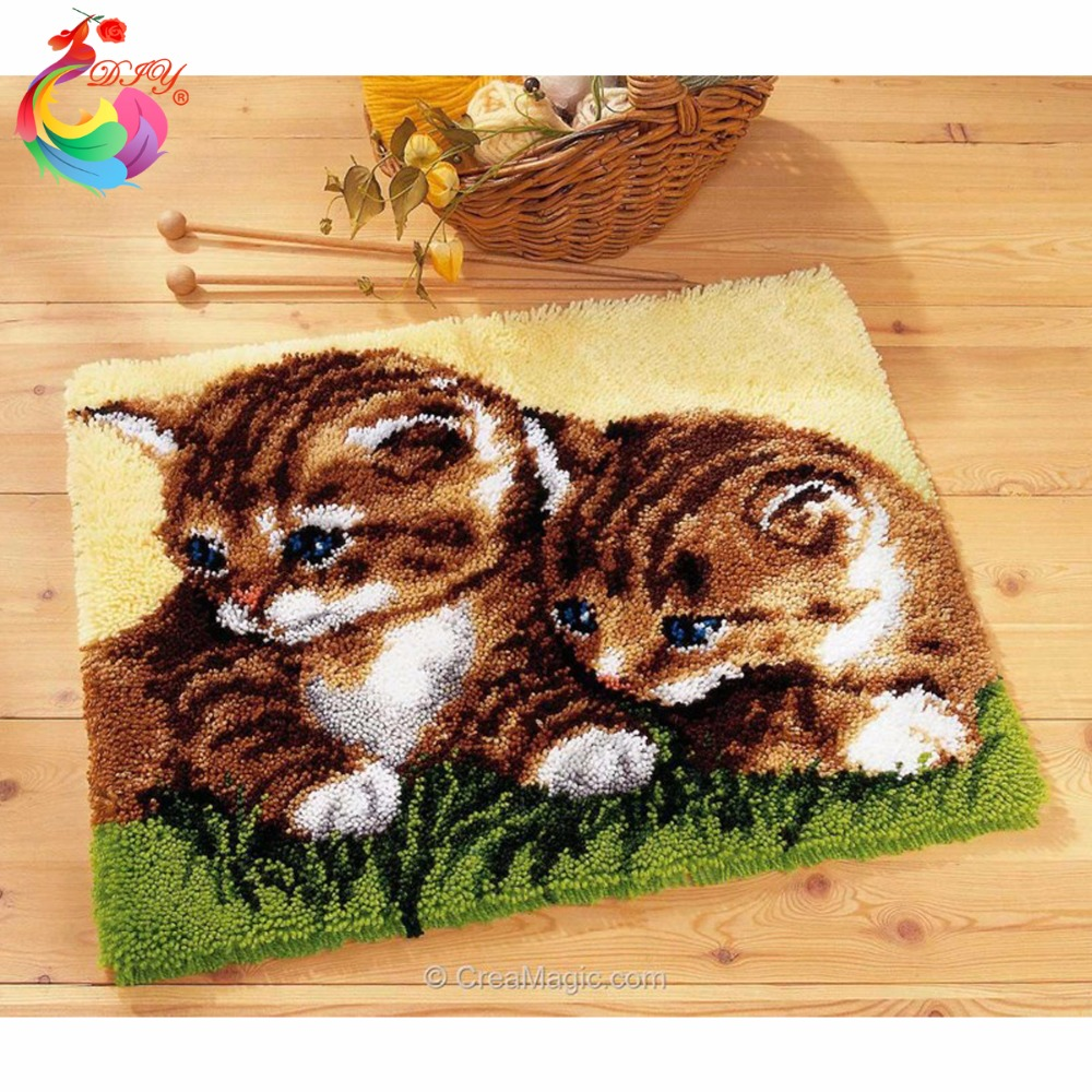 Needlework cushion Cute Cat Mat Hook Rug Kit DIY Unfinished Crocheting Yarn Mat Latch Hook Rug Kit Pillows Carpet Set printing