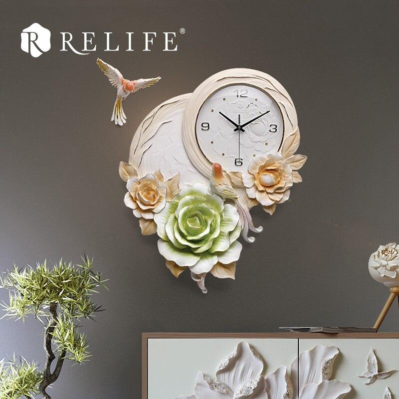 Horloge murale en relief bricolage Design pivoine horloges murales décoratives numériques pour salon