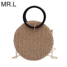 MR.L Fashion Women Summer Rattan Bags Round Straw Bag Handmade Woven Beach Crossbody Circle Bohemia Bali Handbags