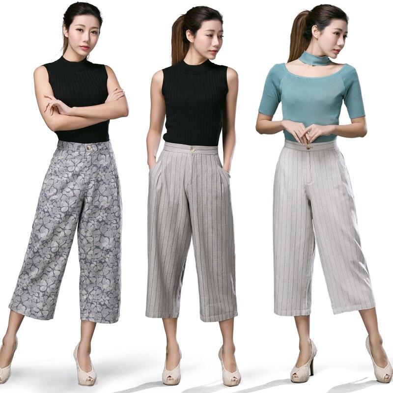 Mère printemps été nouveau coton lin pantalon à jambes larges lâche taille haute jambe droite pantalon en lin pantalon rayé pantalons décontractés femme