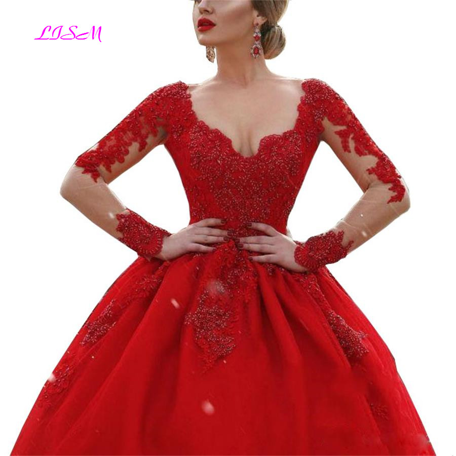 Illusion V-neck Long Sleeve Ball Gown   Prom     Dresses   Zipper Back Appliques Beaded Red Formal Evening Party   Dress   Vestido De Fiesta