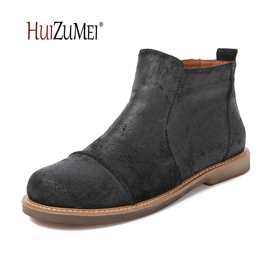 HUIZUMEI autumn and winter genuine leather female ankle boots for women round toe soft  retro casual ladies boots [krusdan]british style men autumn winter boots solid casual genuine leather retro boots falts brand red wine male ankle boot