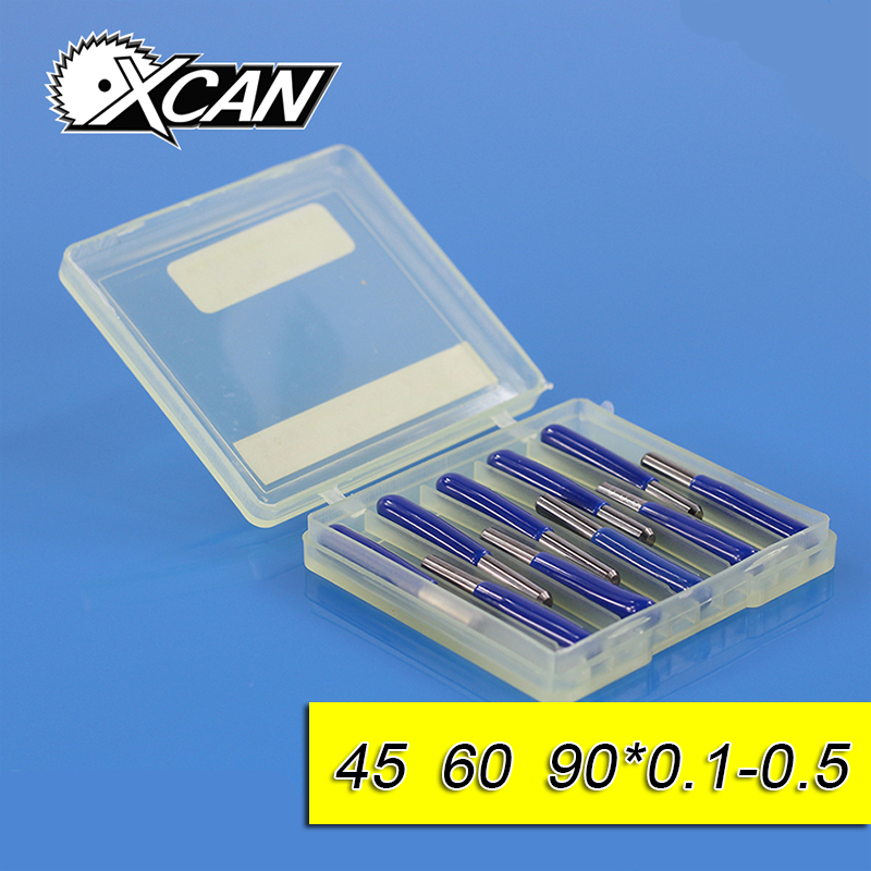 XCAN  10Pcs 3.175mm Tungsten Steel V Shape Carbide PCB Engraving Bits CNC Router Tool 45 60 90 Degree 0.1mm Machine Accessories hot sale tungsten steel 10pcs 3 175mm carbide pcb engraving bits cnc router tool 30 degree 0 1mm