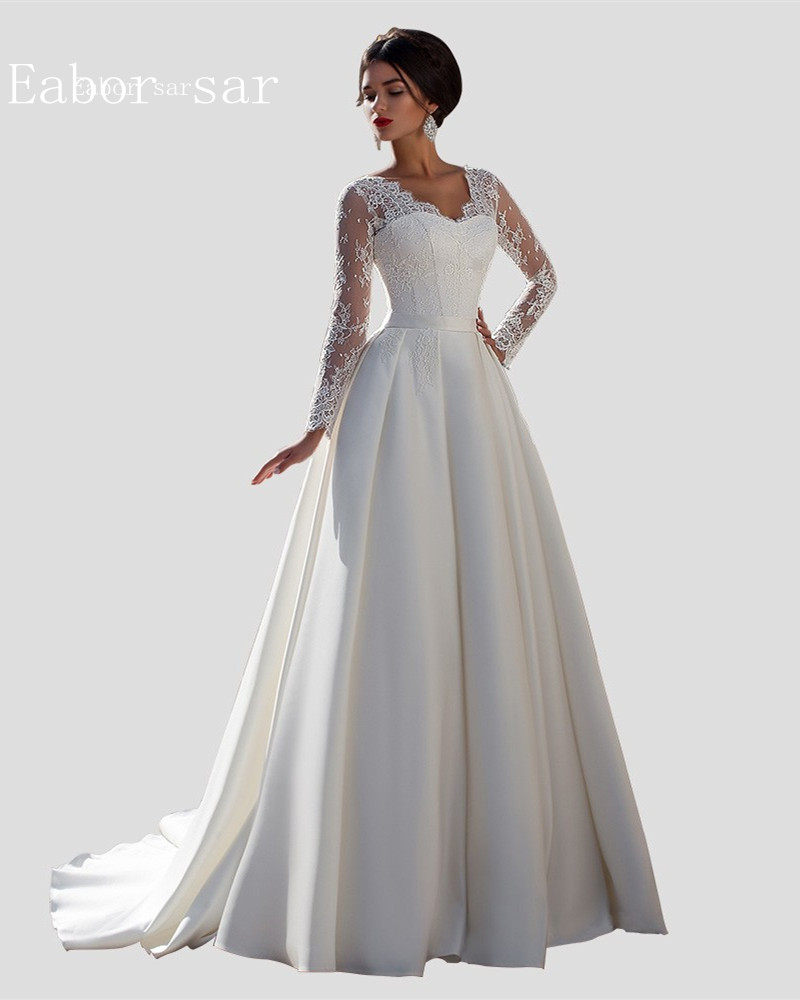 Vintage lace long sleeve wedding dresses ball gowns stain for Long wedding dresses with sleeves