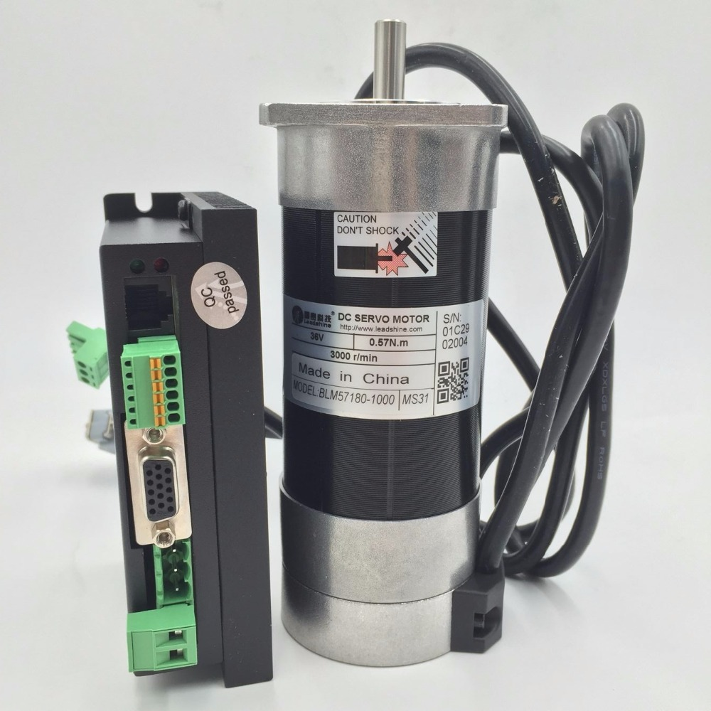 Acs606 Servo Driver Dc18-60v Cable Leadshine Set Blm57180-1000+acs606 180w Dc Brushless Servo Motor Drive Kit 0.57nm 36v
