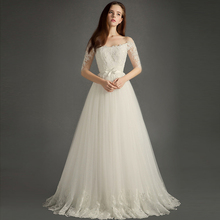FOLOBE Elegant Strapless Boat Neck A-line Wedding Dresses