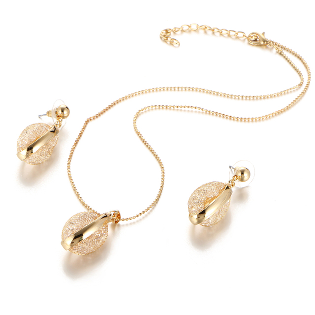 17KM Gold Color Hollow Out Water Drop Bridal Jewelry Sets For Women Bohemian Wedding Pendants Statement Necklace Earrings