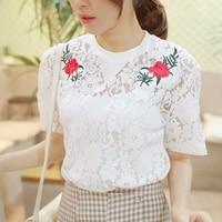 NAFMI Sexy White Lace Flower T Shirt Whit Vest Hollow Out Mesh Transparent Tops Blusas Women