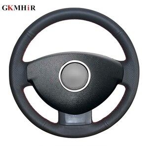 Image 1 - GKMHiR Steering Wheel Cover DIY Black Artificial Leather Car Steering Wheel Cover for Renault Duster Dacia Duster 2011 2015