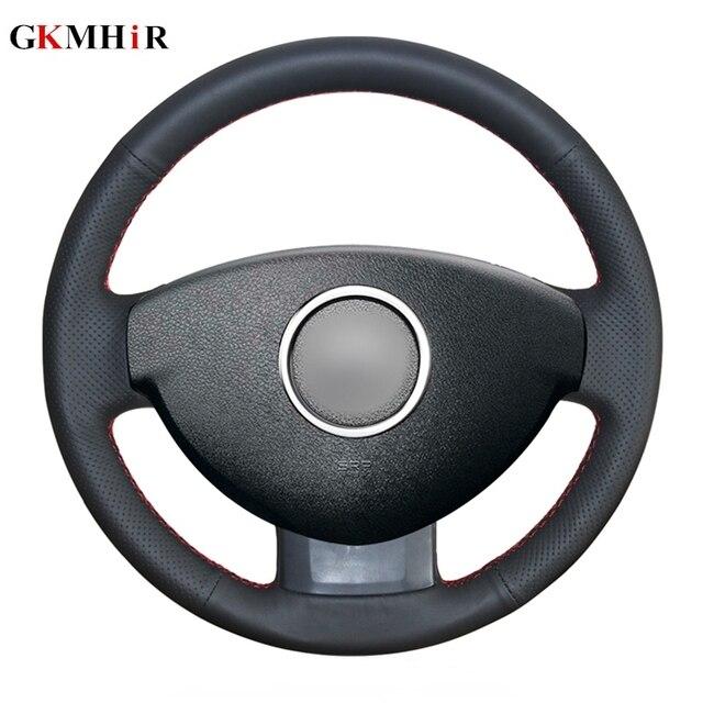 GKMHiR Steering Wheel Cover DIY Black Artificial Leather Car Steering Wheel Cover for Renault Duster Dacia Duster 2011 2015