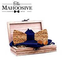Mahoosive Wood Bow Tie Gentle men Wooden Bow Ties Set Gravatas Corbatas Butterfly Cravat For Men Wood Ties handkerchief cufflink