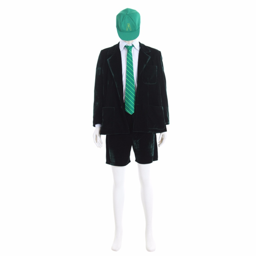 Cosplaydiy Custom Made Superstar AC/DC Band Angus Young School Boy Outfit Cosplay Costume  Jacket Coat Short Pants Shirt L0516