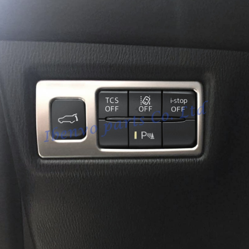 Car Dashboard Function Switch Button Cover Trim For <font><b>Mazda</b></font> CX-5 KF <font><b>CX5</b></font> 2017 2018 Trunk Switch Matte Chrome Inner <font><b>Accessories</b></font> image